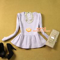 free shipping  prespinning tweed o-neck ruffle hem elegant purple short top outerwear