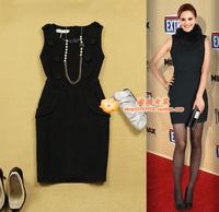 free shipping  women's ol slim button decoration black vest one-piece dress