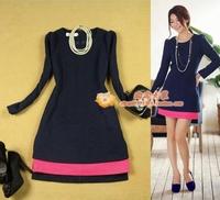 free shipping  women's 13 long-sleeve woolen color block decoration elegant ol slim navy blue a one-piece dress