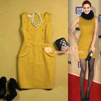 free shipping  women's autumn and winter woolen slim button decoration vest one-piece dress