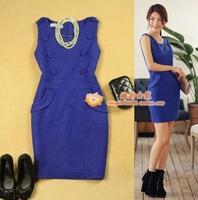 free shipping  women's woolen slim button decoration navy blue vest one-piece dress