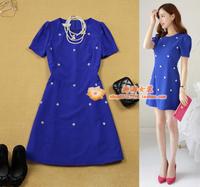 free shipping Women's  bubble short-sleeve slim waist plus size navy blue bead a one-piece dress