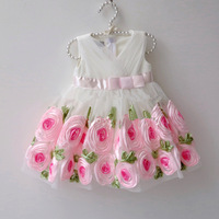 beautiful princess baby girl brand white dress with flowers for kids/children party or wedding dresses free shipping