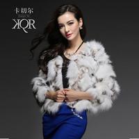 Fur coat fox fur short 2013 design wool o-neck