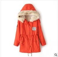 Woman winter fleece thick coat ladies lamb Fur Hooded Zipper Embellished Fleece Inside Military Casual trench Coat