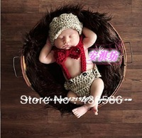 5sets Hand Crochet Gentlemen Design Baby Hats Caps,Bowknot,Suspenders Shorts Newborn Boy Photography Props Costume Set