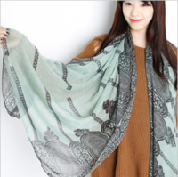 Free Shipping 2013 New Fashion Printed Voile Lace Shawl Scarf Blue And White Porcelain Chinese Style Women Long Scarves
