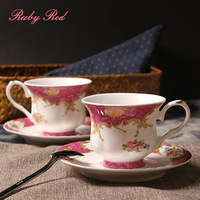 Latest 6-Ounce Gorgeous  coffee cup and saucer set,European Style  fushia cabbare tea cup and saucer