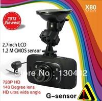 "2013 New  X80 Car DVR 2.7"" HD 720P + G-Sensor + H.264 + Wide Angle + IR Night Vision + Motion Detection Dashboard Video Recorder"
