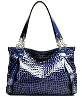 wholesale price crocodile pattern patent leather women shoulder bags