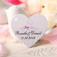 Free Shipping 60 pcs Personalized Wedding Dress Heart Shaped Wedding Favor Tag/Wedding Decoartion/Garden Supplies