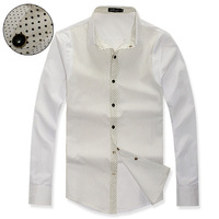 2013 Fashion autumn Korean hit color dots and pearl button leisure long-sleeved men's shirt for M/XXL,Free Shipping