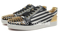 Men horse hair red bottom rivet genuine leather shoes 2013 high top zapatillas famous brand casual