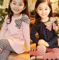 Free shipping children clohting spring autumn sets, girls clothes,kids wear, Bow/bowknot long-sleeve stripe suit (pink,blue)