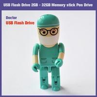 100% New Full USB 2.0 2GB 4GB 8GB 16GB 32GB Flash Drive Doctor Shaped Memory Stick U Disk Hot sale FREE SHIPPING!!