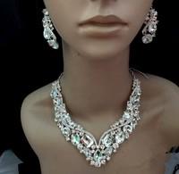 Europe fashion luxury crystal necklace earrings set bridal jewelry full rhinestones shinning wedding jewelry free shipping 033