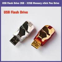 100% New Full Hot Gift Cartoon Iron man 2GB 4GB 8GB 16GB 32GB USB2.0 flash drive Memory Stick pen U Disk  FREE SHIPPING!!