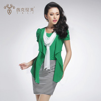 Free shipping 2013 women's elegant chiffon plus size elegant short-sleeve faux two piece set 4226 one-piece dress