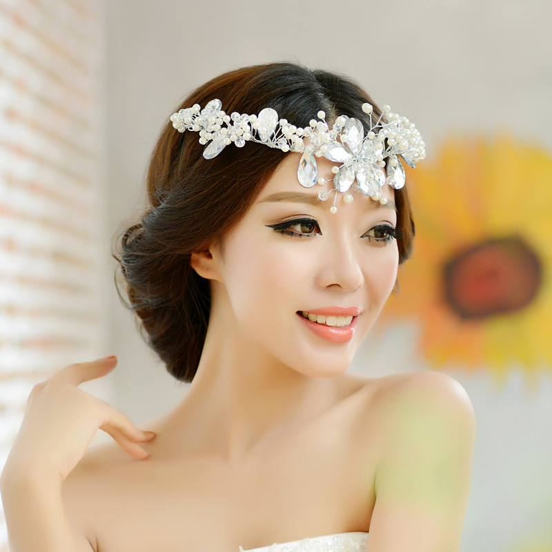 bride accessories handmade crystal beaded soft style hair accessory wedding dress accessories pearl marriage accessories(China (Mainland))