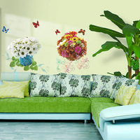 Wall stickers sticker living room decoration sofa background wall flower pot plant