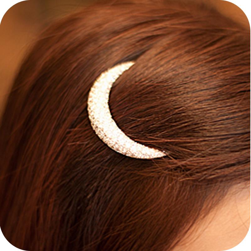 Oh0166 rhinestone moon hair pin hair accessory hair accessory hairpin side-knotted clip bangs clip frog clip 12g(China (Mainland))