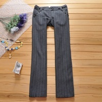 2013 autumn and winter outfit women's OL low-waist straight trousers woolen suit pants
