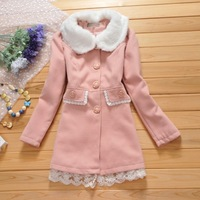 Boutique women's 2013 fur collar bow lace patchwork slim wool coat outerwear