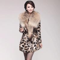 2013 genuine leather clothing medium-long Women outerwear ultralarge slim raccoon fur sheepskin overcoat