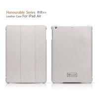 ICARER Real Cowhide Leather Stand Wake/Sleep Smart Cover Case For Apple iPad Air with Retail Package  White