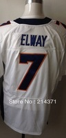 Free shipping -  7 John Elway  Men's Authentic  White  Elite  Football  Jersey  size: 40-56