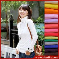 Hot sales Lady long-sleeved turtleneck sweater Shirt Women primer shirt sweater causal base shirts Leisure PinkyColor undershirt