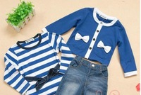 Retail- one set baby girl sets three-piece clothes (top+t shirt+jeans) 5 sizes,children clothes set,infant tee shirt+coat+jeans