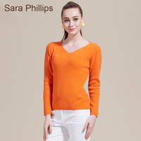 Saraphillips women's cashmere sweater cashmere solid color V-neck