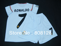 2013 2014 Customized Kids 7 RONALDO Real Madrid Junior Soccer Jersey Football Uniform Cheap Youth Shirt Home White Discount Kit