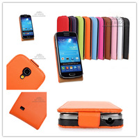 100PC/LOT , DHL Wholesale i9190 Genuine Leather Case For Samsung GALAXY S4 Mini i9190 Flip Cover Case ,9 Color .