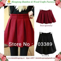 Free Shipping high quality women's autumn and winter short skirt South Korea elastic waist wool skirt pleated skirt girl skirt