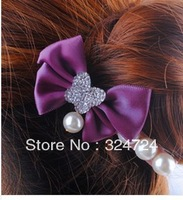 30pcs/lot wholesale 2013New FashionPearlButterflyHairclipsAcrylic diamond hairpin Edge clip hair headwear mix color Freeshipping