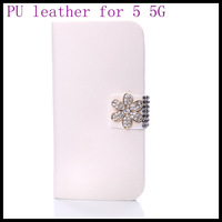 2013 New arrival diamond flower white PU leather for iphone5  5s case  skin wallet best screen protector