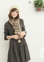 New 2013 fashion women's winter fur scarf scarves rabbit rings real cony hair scarf super warm for women