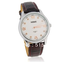 MIKE 8089 mens watches top brand luxury Round Dial Analog Watch with PU Leather Strap