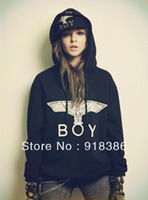 2013 Winter Womens / Mens  New Fashion Boy London Eagle print Fleece Loose  Hooded Sweatshirts / hoodies   Freeshipping