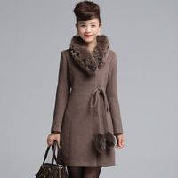 2013 winter WOMEN'S slim long hair ball design turn-down collar fox fur cashmere overcoat plus size PT881