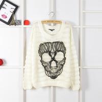 women's pullover Fine fairy tale villains Hitz European and American women's skull round neck loose sweater female
