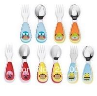 NEW Portable Tableware Plastic Handle Stainless Steel Cartoon School Tableware Small Animal Fork Spoon Dinnerware Free Shipping