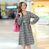 Autumn new arrival 2013 loose plus size small o-neck long-sleeve dress spirals