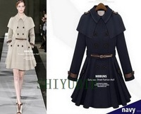 Free shipping Women's fashion star style cloak cape style epaulette skirt trench long design slim female outerwear
