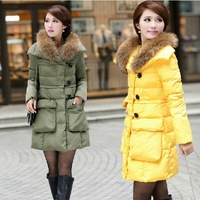 2013 new fashion winter extra warm down jacket women tide luxury fur collar long sections Slim Women Down coat wholesale