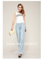 Sexy  Body  Elegent Thin Loose Straight Leg High Waist Plus-size Wide Leg Elastic Waist Female Jeans