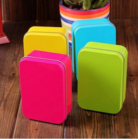Free shipping! 8pcs/lot Zakka Bright Color Metal Storage Box Tin Case Candy or Jewelry Box Home Deocration Gift T1224