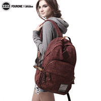Fourone canvas backpack travel bag middle school students school bag backpack 7041